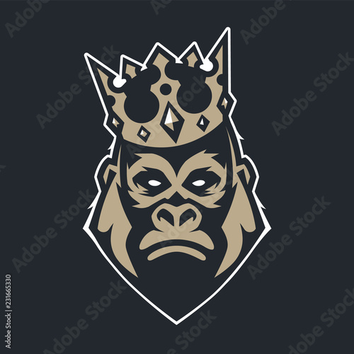 Wall mural Gorilla in Crown Mascot Vector Icon