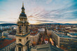 Leinwanddruck Bild - Budapest as seen from the St Stephen Basilica tower with christmas market in front of the church