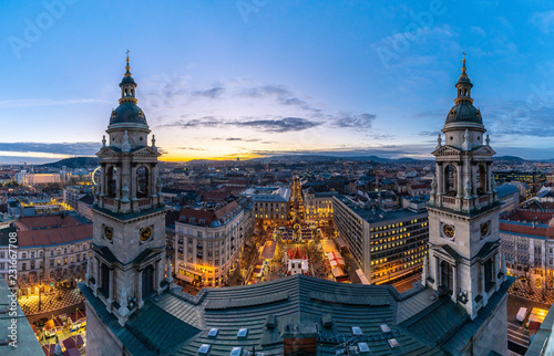 Budapest night panorama over St Stephen Christmas Market