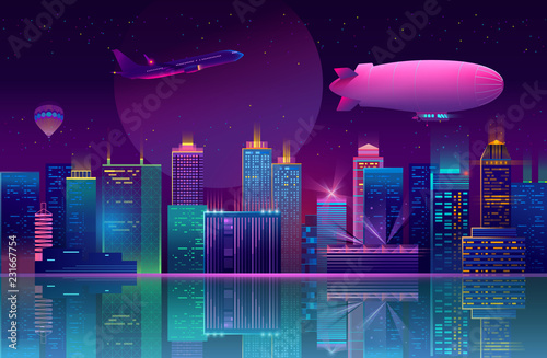 Vector concept background with night city illuminated with neon glowing lights. Futuristic cityscape in blue and violet colors, panorama with modern buildings, skyscrapers on waterfront, urban skyline