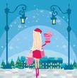 Beautiful girl on winter shopping, card