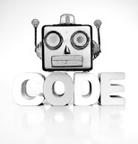 monochrome robots head with the word code - 231671332