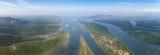 Aerial of estuaries and strait in Thailand