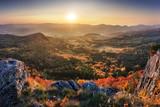 Sunrise autumn panorama from peak - Slovakia, Handlova