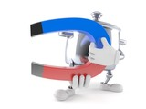 Kitchen pot character holding horseshoe magnet