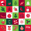 Christmas Advent Calendar with socks, rowanberry, fir tree, branch, poinsettia