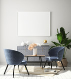 mock up poster frame in modern interior background, Scandinavian style, 3D render, 3D illustration - 231693793