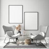 mock up poster frame in modern interior background, Scandinavian style, 3D render, 3D illustration - 231693900