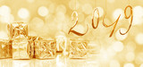 2019 new year card, Small Christmas gifts in shiny golden paper, bokeh lights background - 231694999