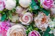 decoration flower fabric , pink rose