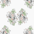 Floral gentle pattern. Pattern from a pattern with pastel flowers, curls and sprigs with leaves. - 231700559