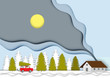 Winter background with beautiful house landscape view  paper cut design vector and illustration