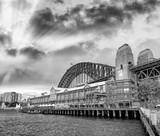 Night view of Sydney Harbor Bridge from the Wharf at sunset, Australia - 231700921