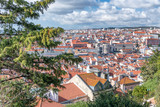Aerial view of Lisbon skyline from city castle on a beautiful sunny day with clouds, Portugal - 231700942