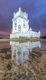 Belem Tower with water reflections at night, Lisbon - Portugal - 231701325