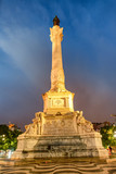 Pedro IV Obelisk at night in Rossio Square, Lisbon - 231701393