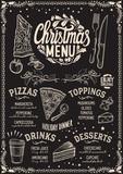 Christmas menu template for pizza restaurant on blackboard. - 231701578