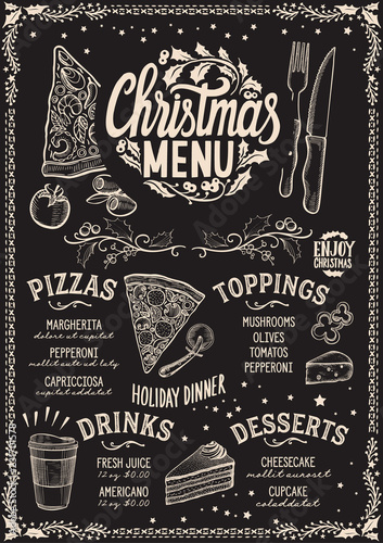 christmas menu template for pizza restaurant on blackboard buy
