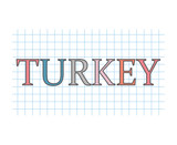 Turkey word on checkered paper texture- vector illustration - 231703963