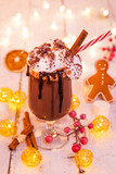 Christmas cup with hot chocolate and whipped cream. - 231704161