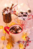 Cup with hot chocolate and marshmallows on old wooden table. - 231704176