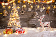 Christmas decoration on wooden background - 231704588