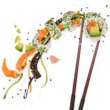 Pieces of delicious japanese sushi frozen in the air. - 231704509