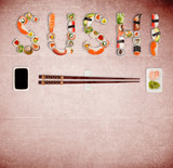 Traditional japanese sushi pieces making inscription. - 231704534