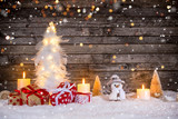 Christmas decoration on wooden background - 231704597