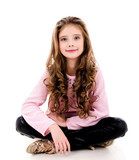 Portrait of adorable smiling little girl child isolated - 231705160