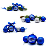 Collection of photos christmas decoration blue and silver balls with fir cones ribbon and fir tree branches isolated - 231705170