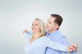 Middle aged Couple portrait isolated on white background. - 231705989