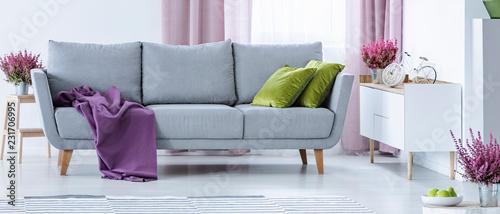 Szara kanapa z fioletowym kocem i zielonymi poduszkami w prawdziwej fotografii wnętrza białego salonu ze świeżymi wrzosami i szafką z zegarem o kształcie roweru