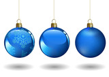 Blue Christmas Ball Set for Your Project - Colored Illustrations with Two Glossy Baubles and Matting Bauble, Vector