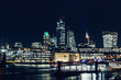 City of London modern skyline business financial distict night lights