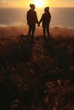 Loving couple on mountain peak during sunset - 231718565