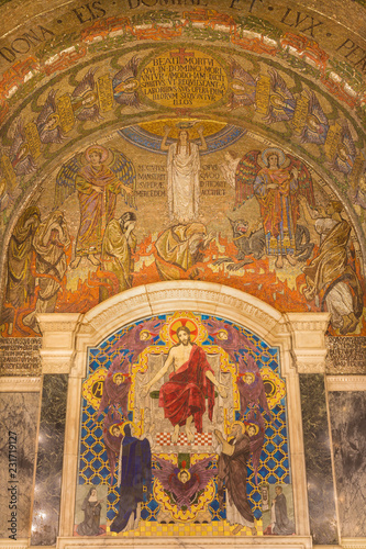 LONDON, GREAT BRITAIN - SEPTEMBER 17, 2017: The tyled mosaic of Jesus Christ the Pantokrator in Westminster cathedral designed by Clayton & Bell (begin of 20. cent.). © Renáta Sedmáková