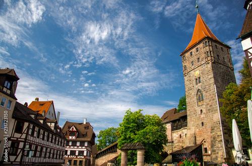 Leinwanddruck Bild Old medieval Tower Tiergartnertorturm, Nurnberg, Bavaria, Germany