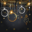 Christmas background with golden decorations