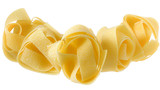 pasta pappardelle nest top view close up on a isolated