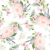 Seamless summer pattern with watercolor flowers handmade. - 231734550