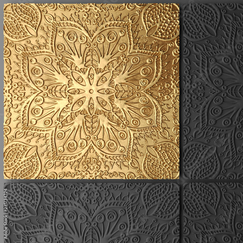 3D wall art, gold leaf abstract painting - 231734724
