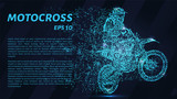 Motocross blue points of light. The silhouette of a motorcyclist falls apart. - 231737709