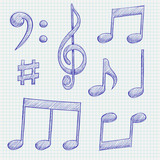 Music signs. Blue notes and symbols on lined paper background - 231741330