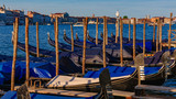 Gondolas by the Grand Canal of Venice, Italy, at dusk - 231744918