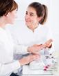 Leinwanddruck Bild - Woman doing manicure