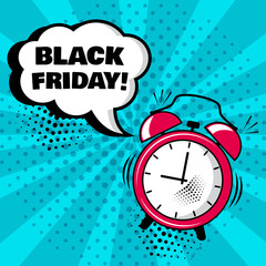 Alarm clock with white comic bubble with BLACK FRIDAY word on blue background. Comic sound effects in pop art style. Vector illustration.