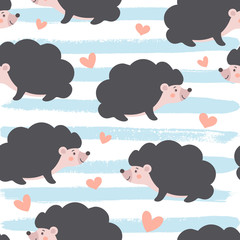 Lovely Seamless Hedgehog pattern. Character baby Porcupine with hearts and sketchy striped background. © yulia.dumanska