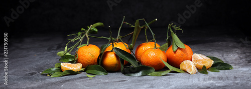 fresh ripe tangarines, food closeup on grey background - 231750580