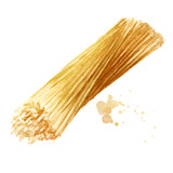 Spaghetti, yellow uncooked pasta. Watercolor hand drawn illustration isolated on white background